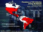 prevalence of hiv infection among tb patients selected countries region of the americas 2001