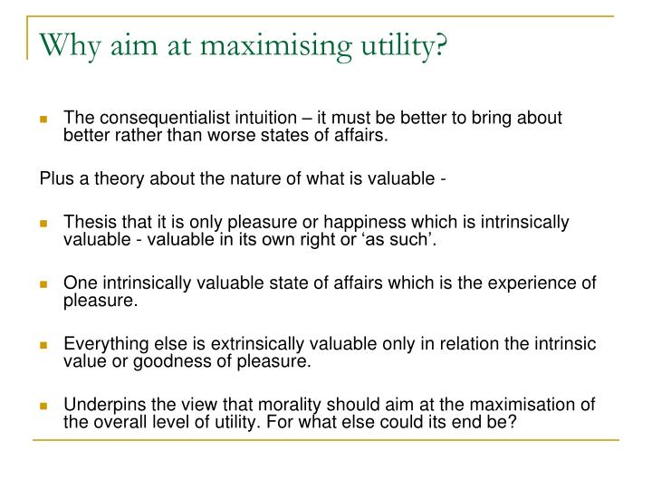Why aim at maximising utility?