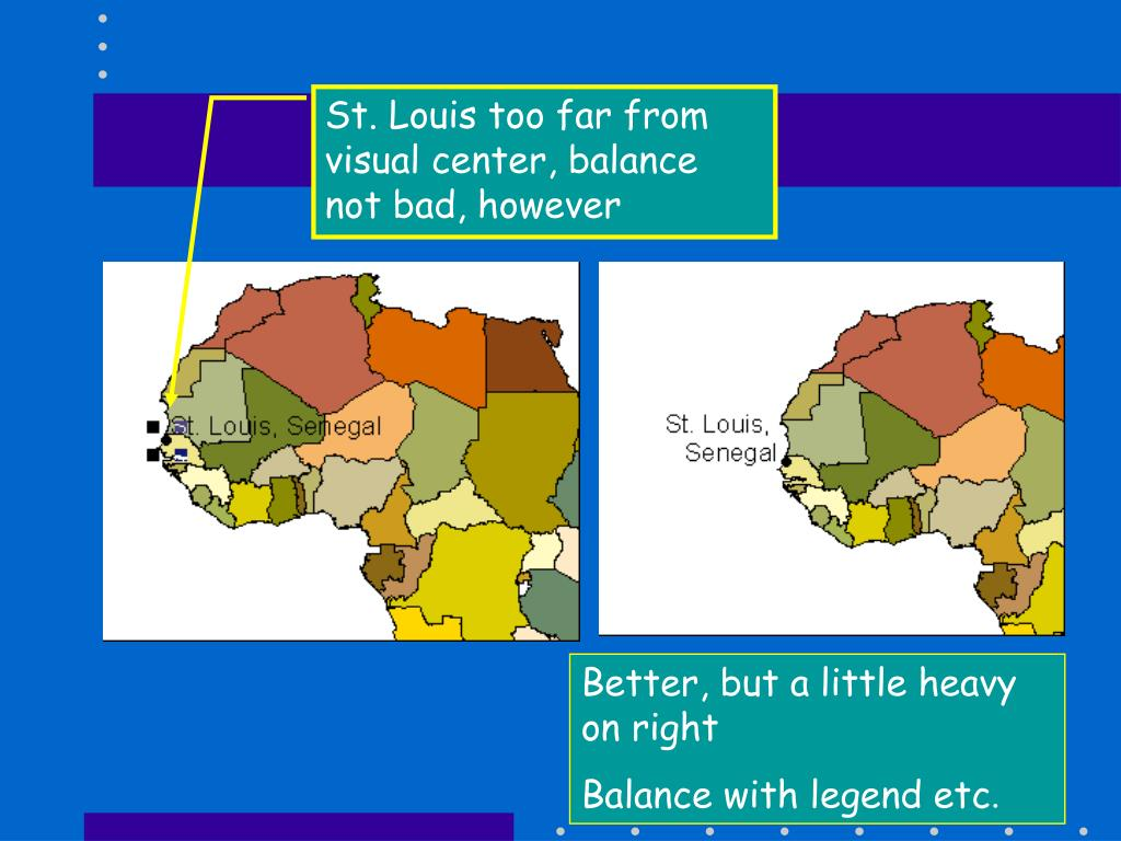 St. Louis too far from visual center, balance not bad, however