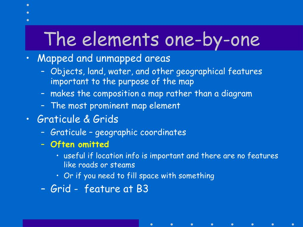 The elements one-by-one