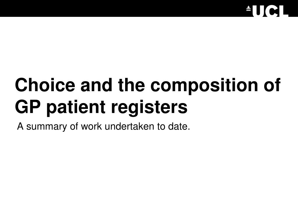 Choice and the composition of GP patient registers