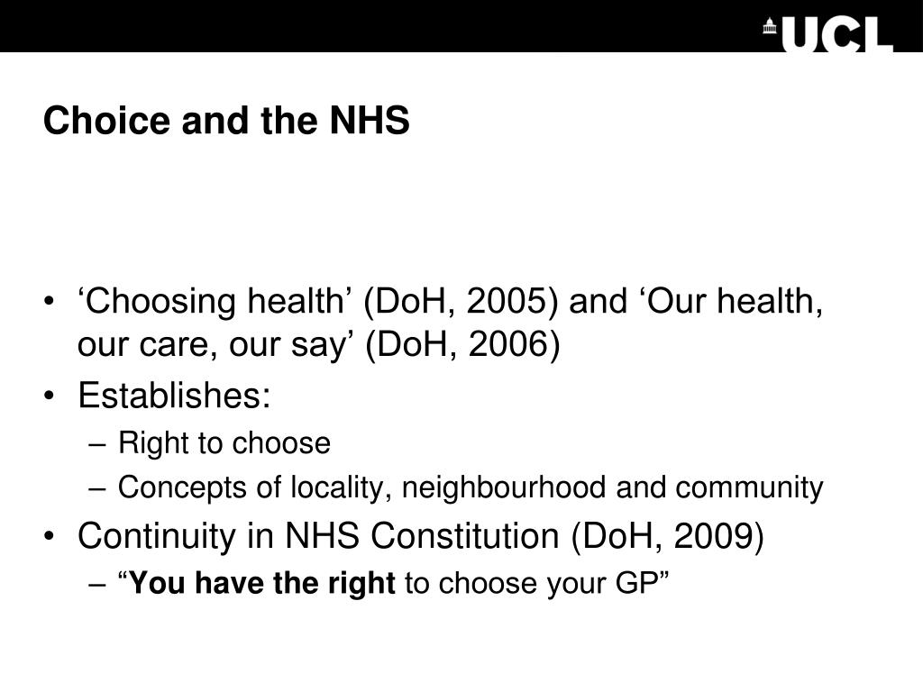 Choice and the NHS