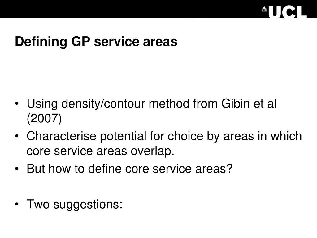Defining GP service areas