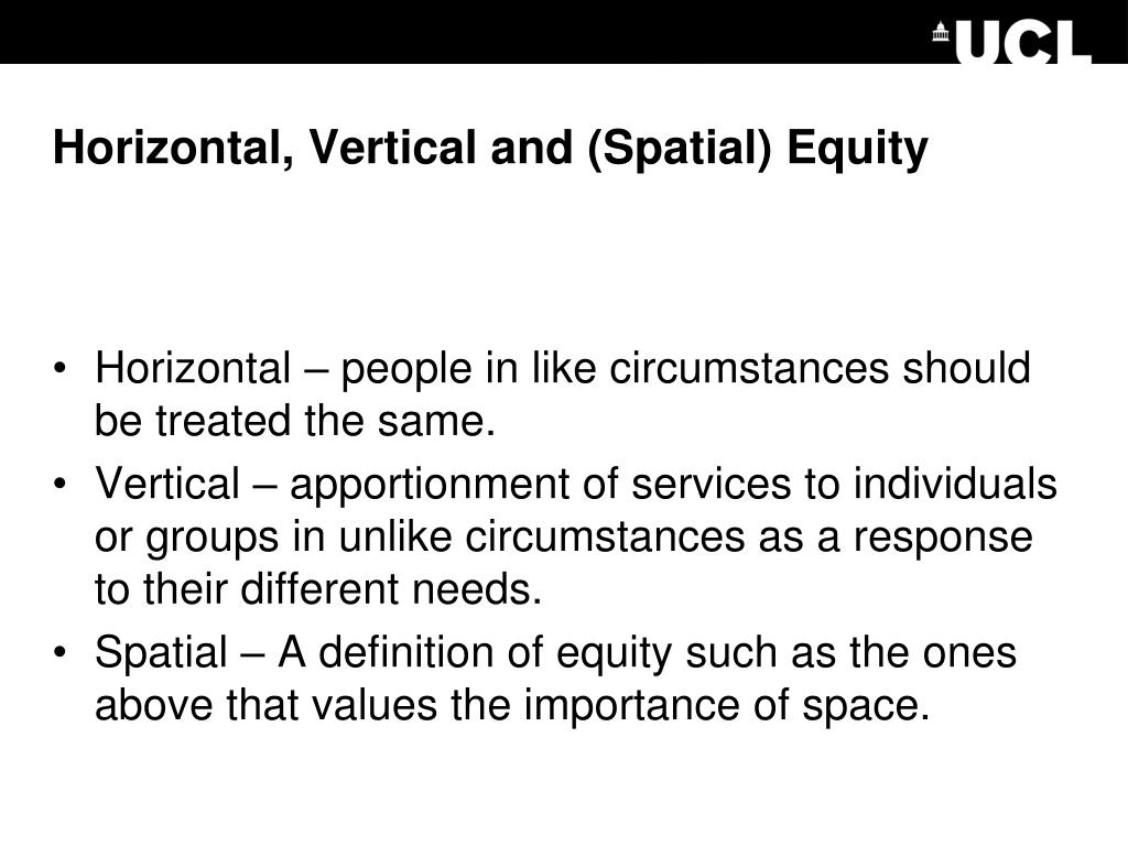 Horizontal, Vertical and (Spatial) Equity