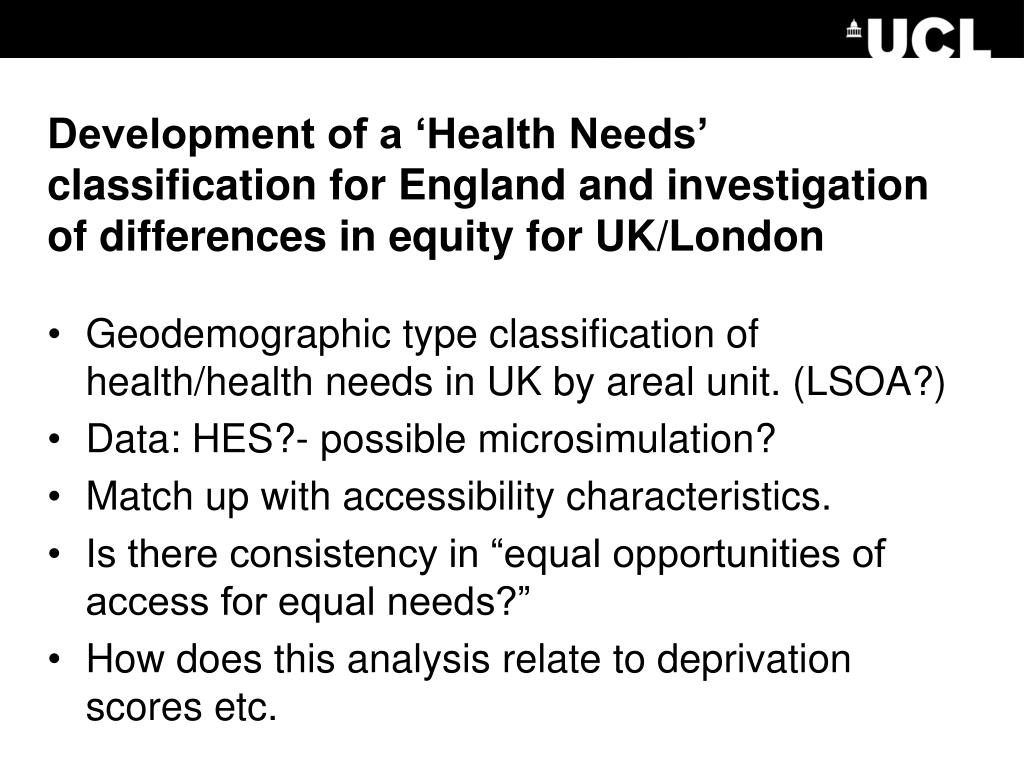 Development of a 'Health Needs' classification for England and investigation of differences in equity for UK/London