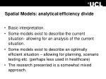 spatial models analytical efficiency divide