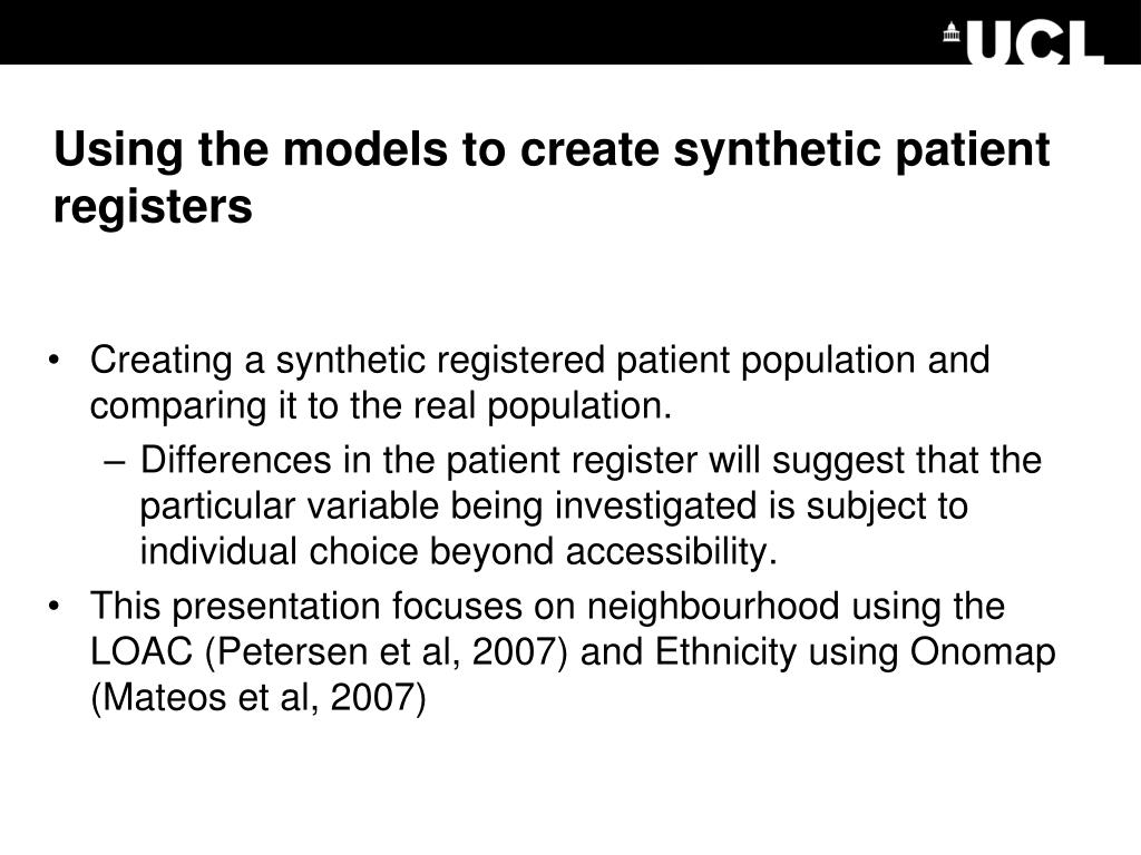 Using the models to create synthetic patient registers