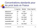 concentrations standards pour les prick tests en france