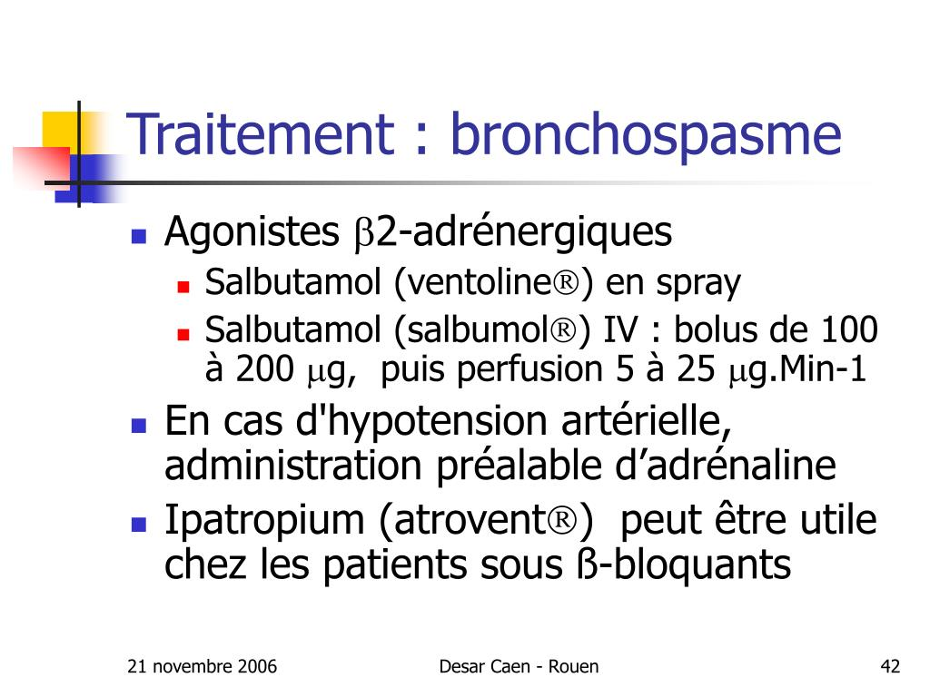 Traitement : bronchospasme