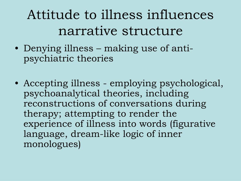 illness narrative The mcgill illness narrative interview is a semi-structured interview protocol for eliciting symptom experience, illness narratives, and help-seeking in health research.