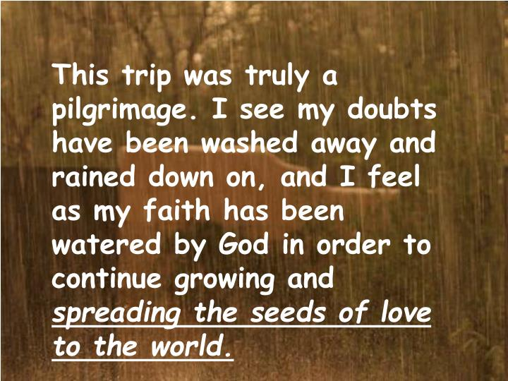 This trip was truly a pilgrimage. I see my doubts have been washed away and rained down on, and I feel as my faith has been watered by God in order to continue growing and