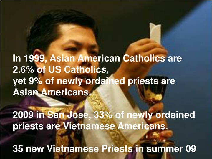 In 1999, Asian American Catholics are 2.6% of US Catholics,