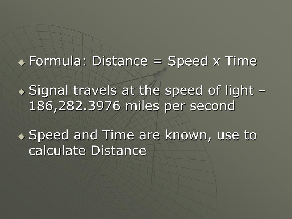 Formula: Distance = Speed x Time