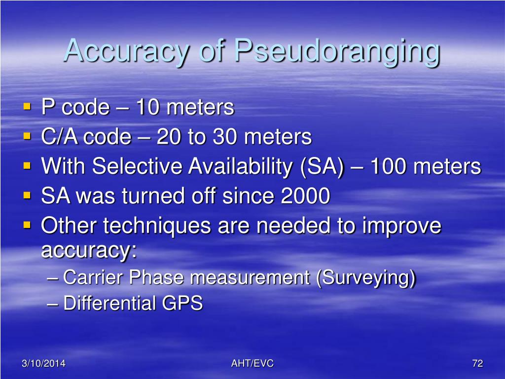Accuracy of Pseudoranging