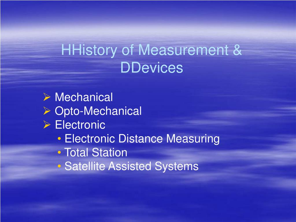 HHistory of Measurement &