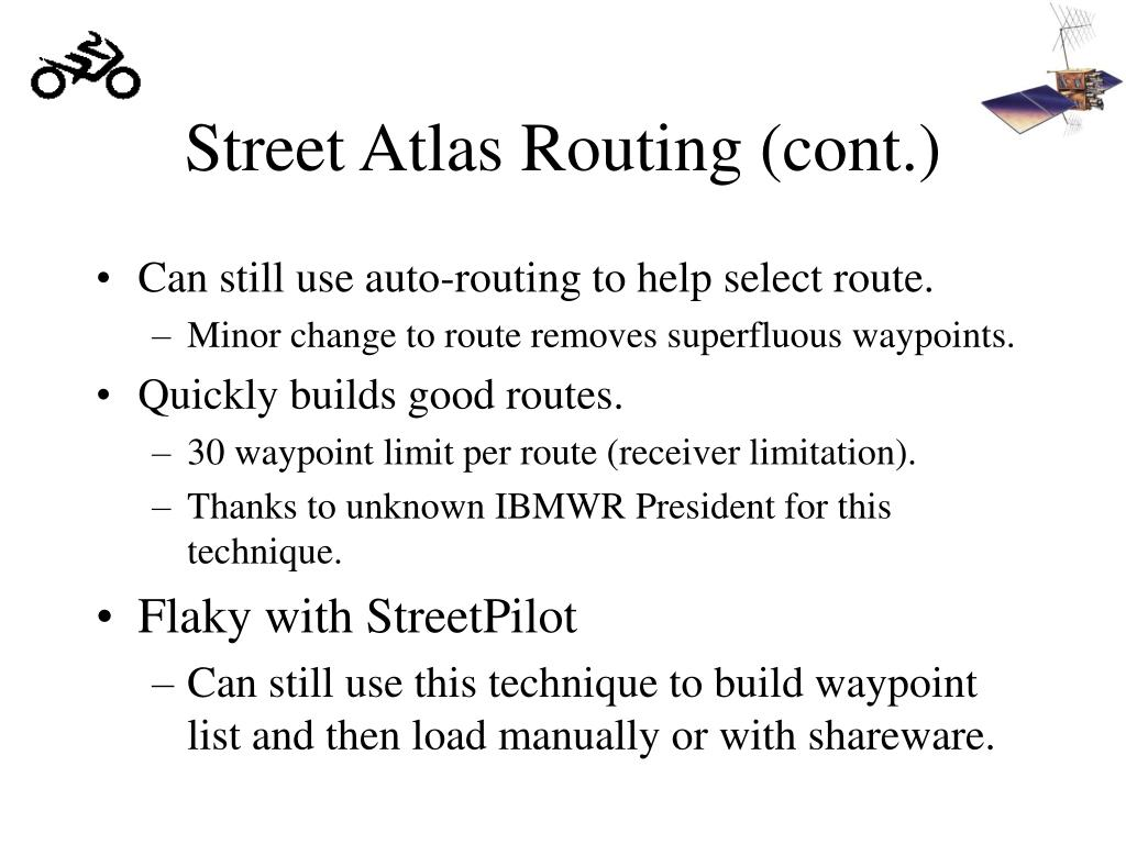 Street Atlas Routing (cont.)