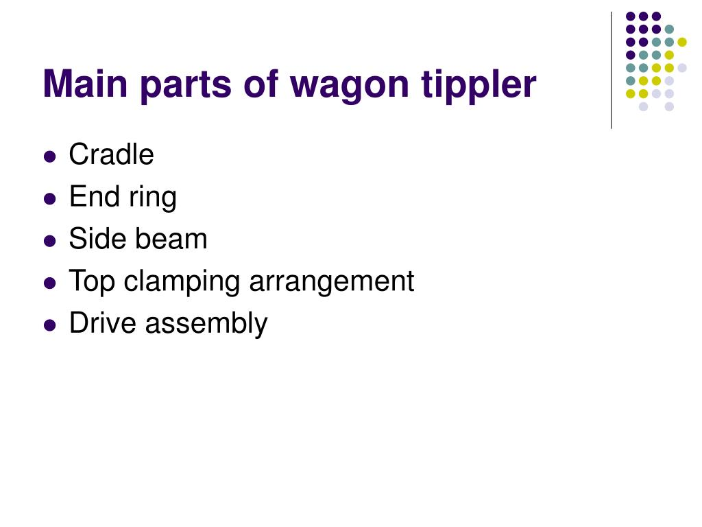 Main parts of wagon tippler