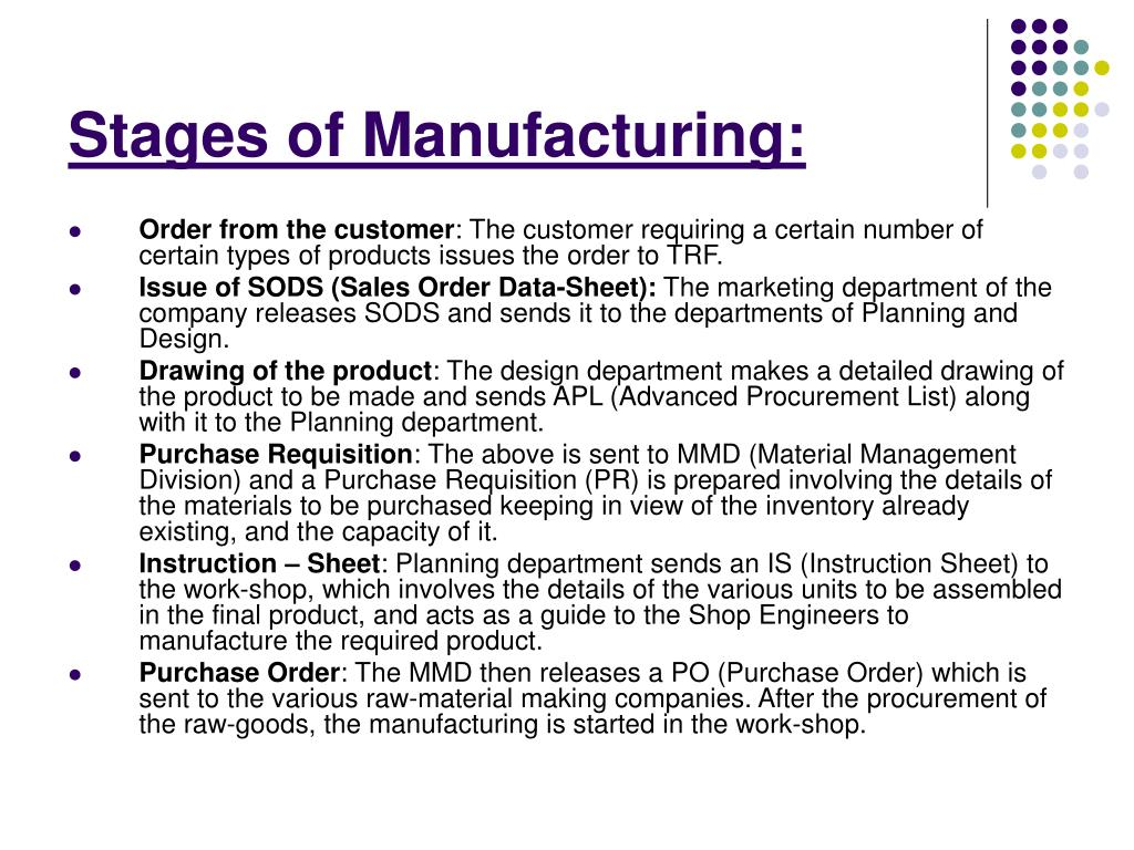 Stages of Manufacturing: