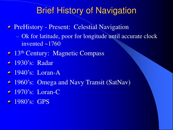 Brief history of navigation