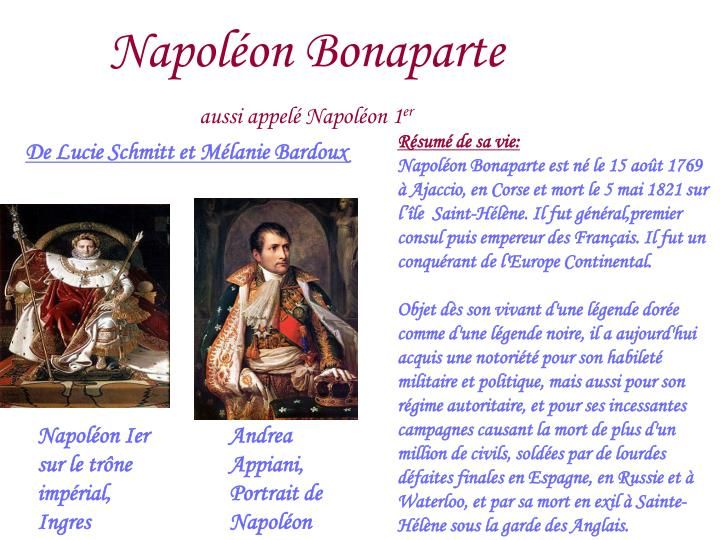 Napol on bonaparte aussi appel napol on 1 er