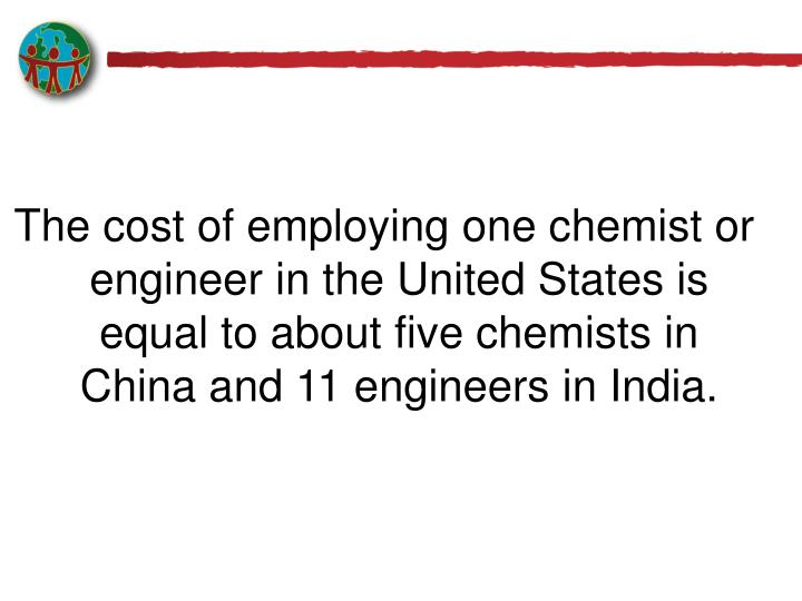 The cost of employing one chemist or engineer in the United States is equal to about five chemists in China and 11 engineers in India.