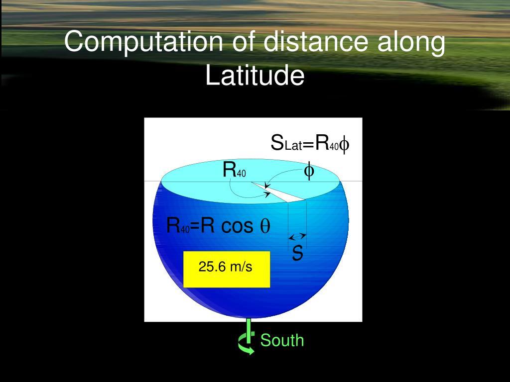 Computation of distance along Latitude