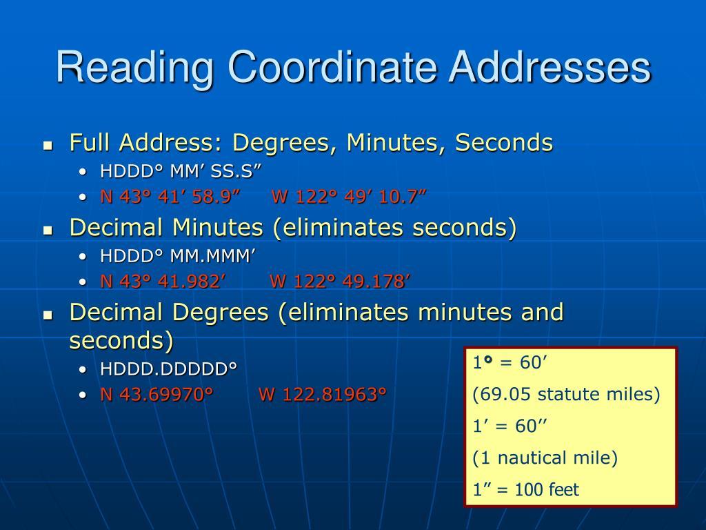 Reading Coordinate Addresses
