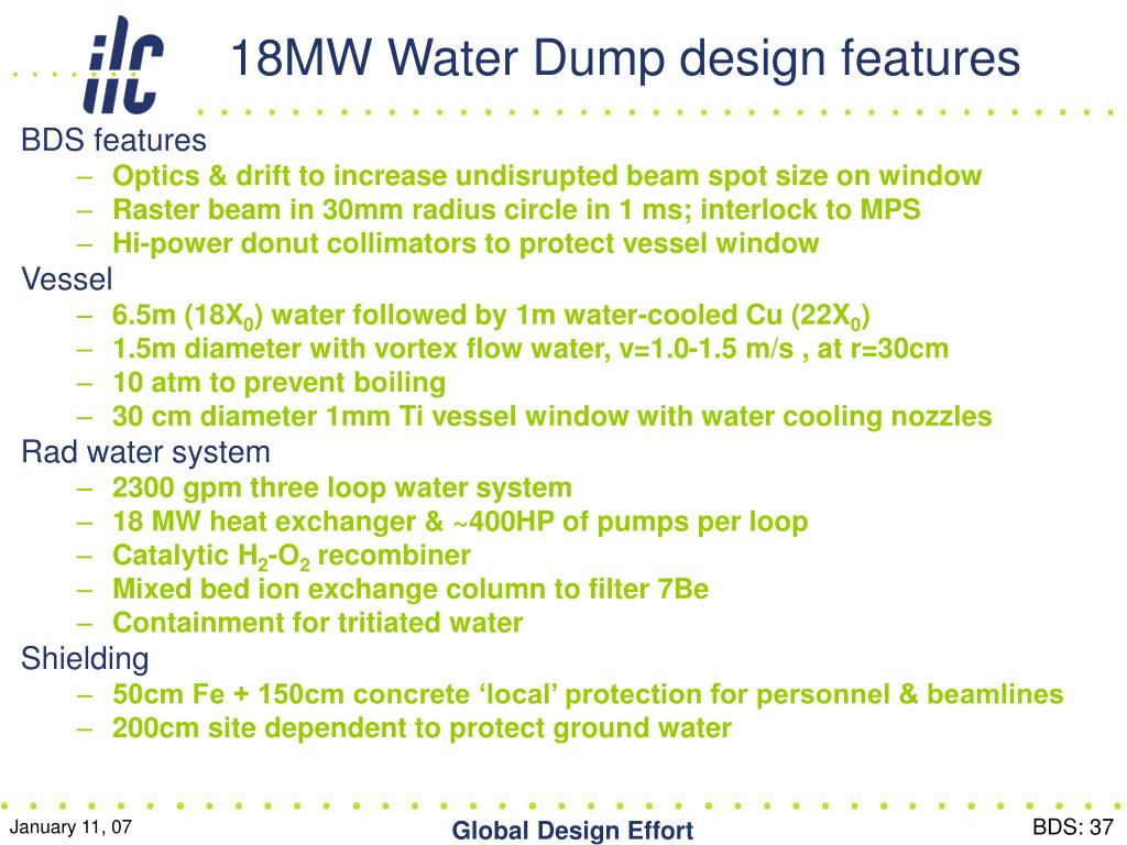 18MW Water Dump design features
