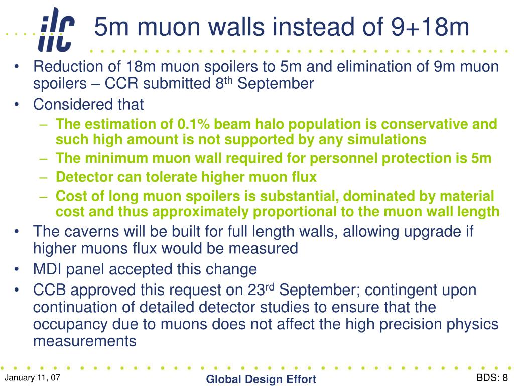 5m muon walls instead of 9+18m