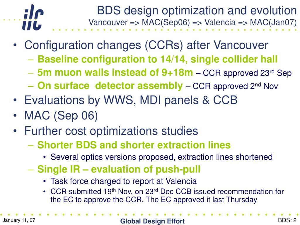 BDS design optimization and evolution