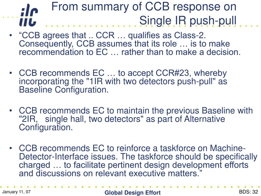 From summary of CCB response on Single IR push-pull