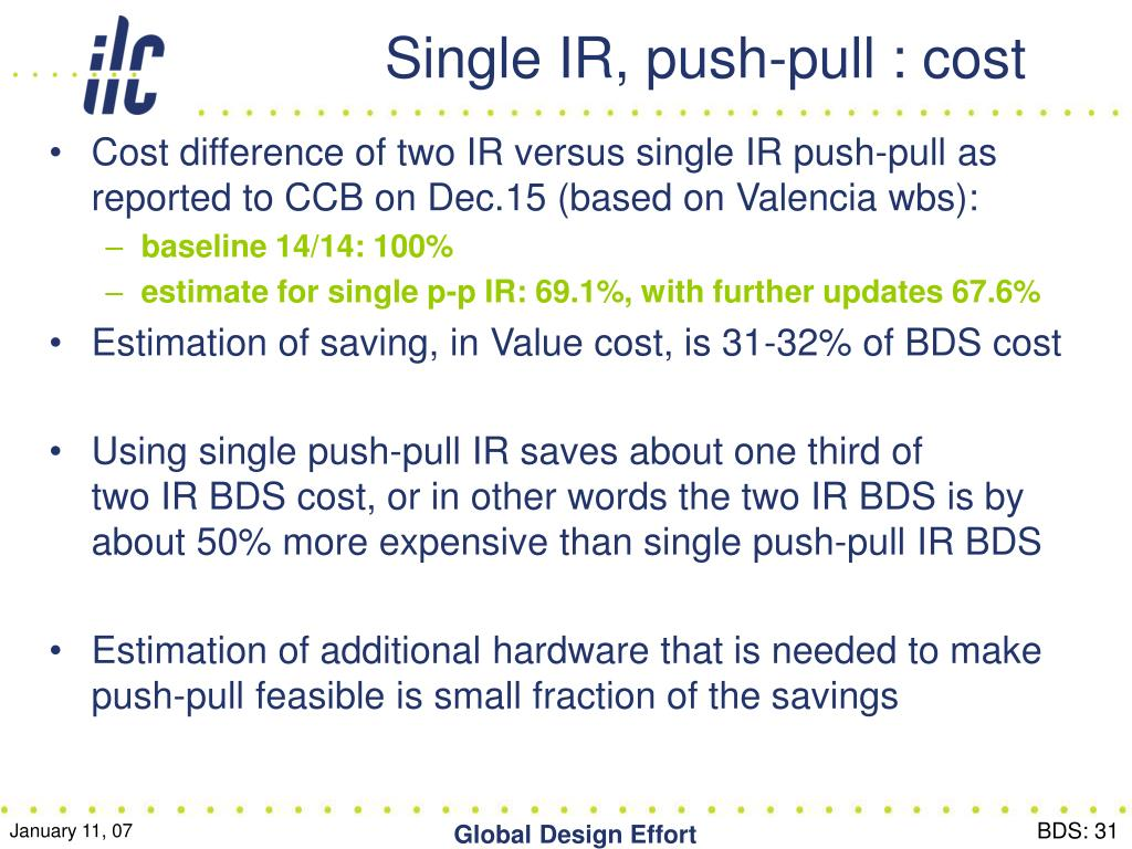 Single IR, push-pull : cost