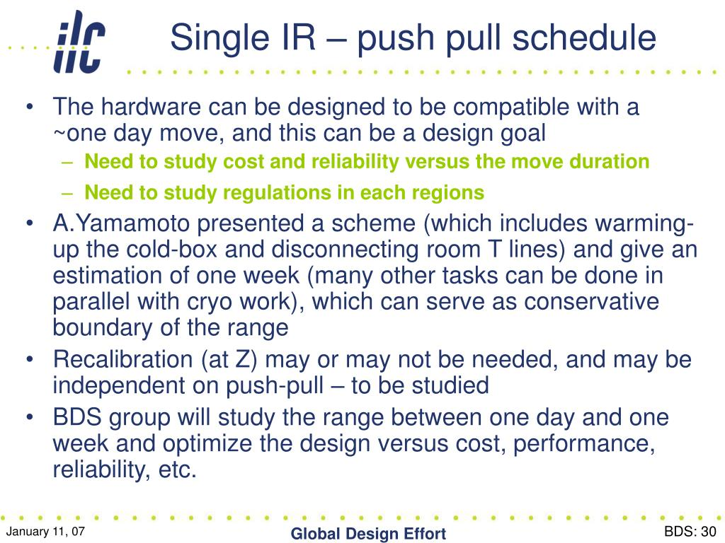 Single IR – push pull schedule