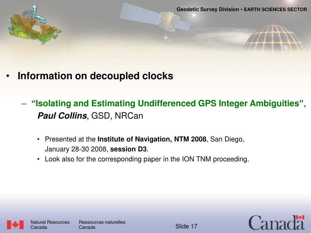 Information on decoupled clocks