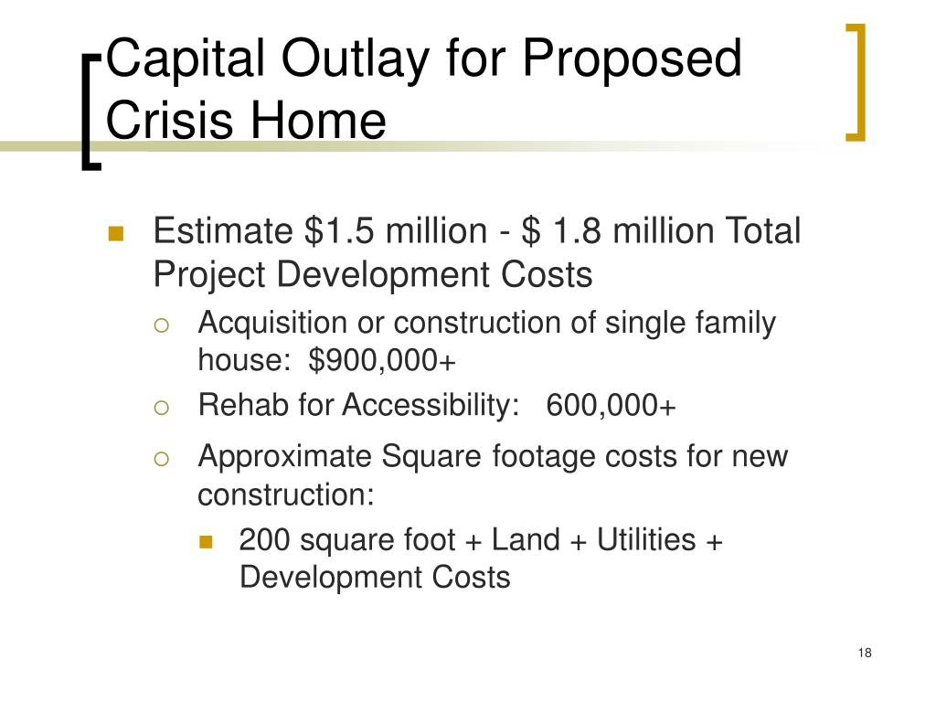 Capital Outlay for Proposed Crisis Home