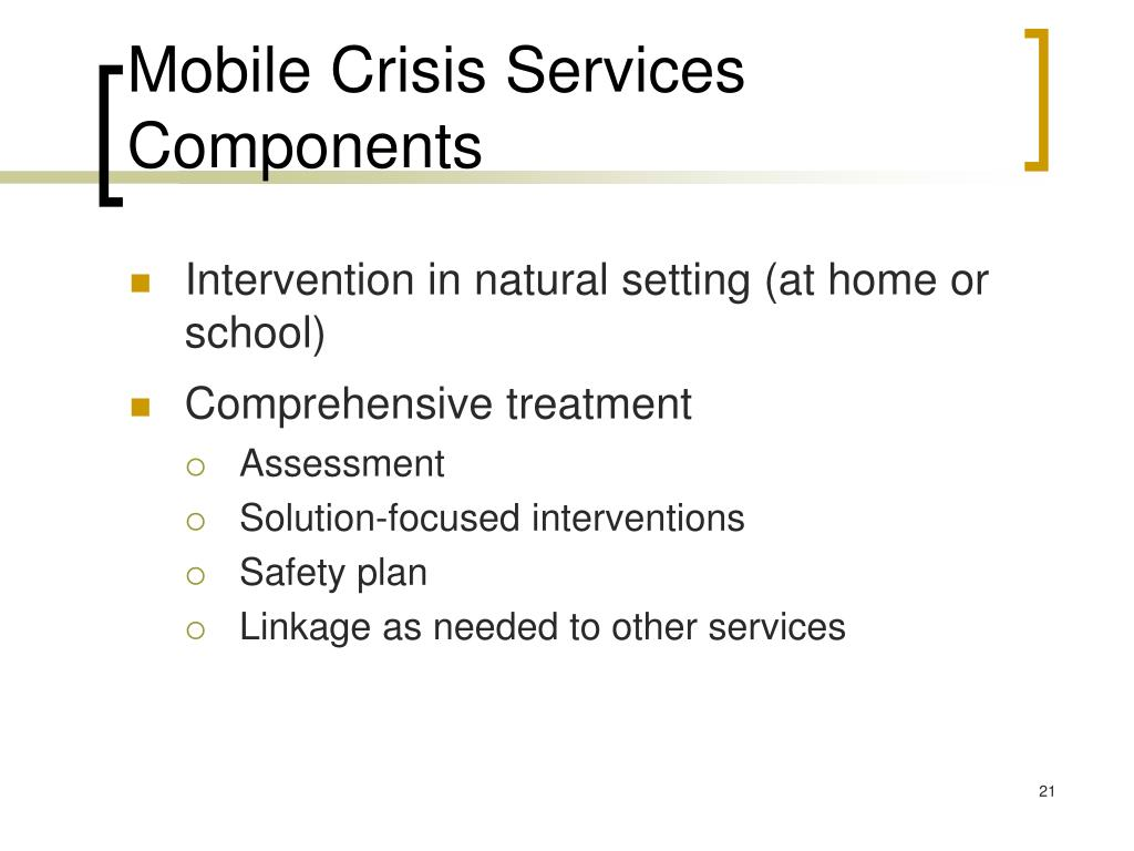 Mobile Crisis Services Components