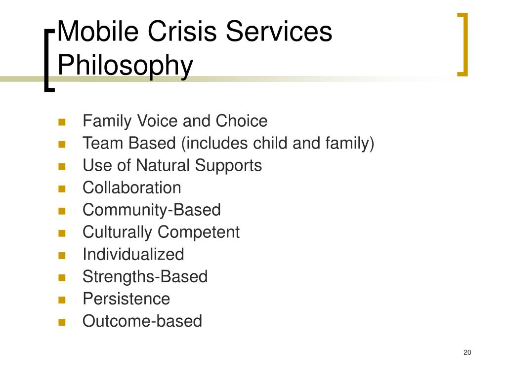 Mobile Crisis Services Philosophy