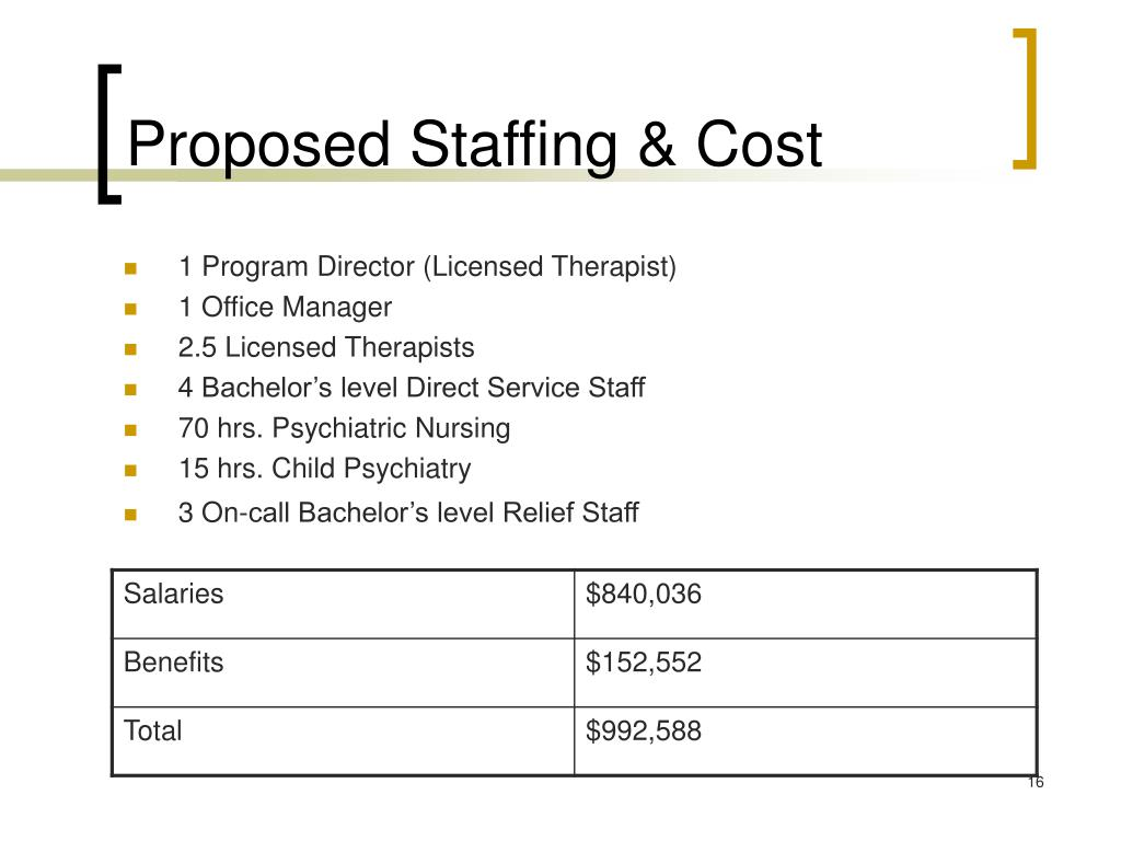 Proposed Staffing & Cost
