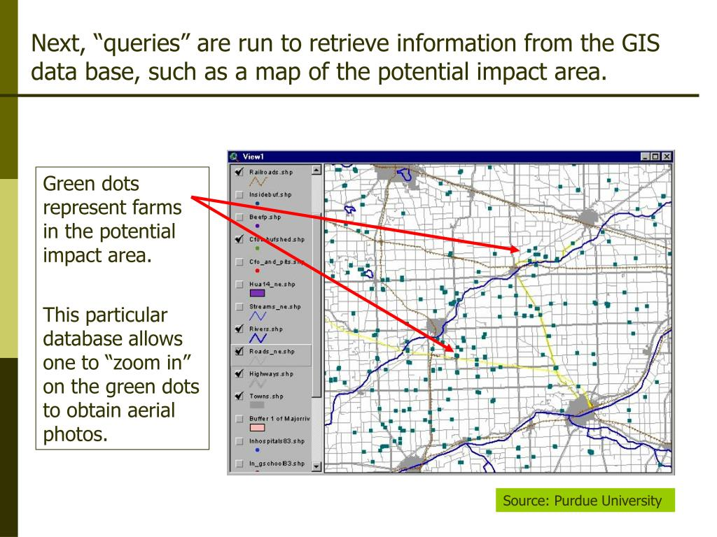"Next, ""queries"" are run to retrieve information from the GIS"