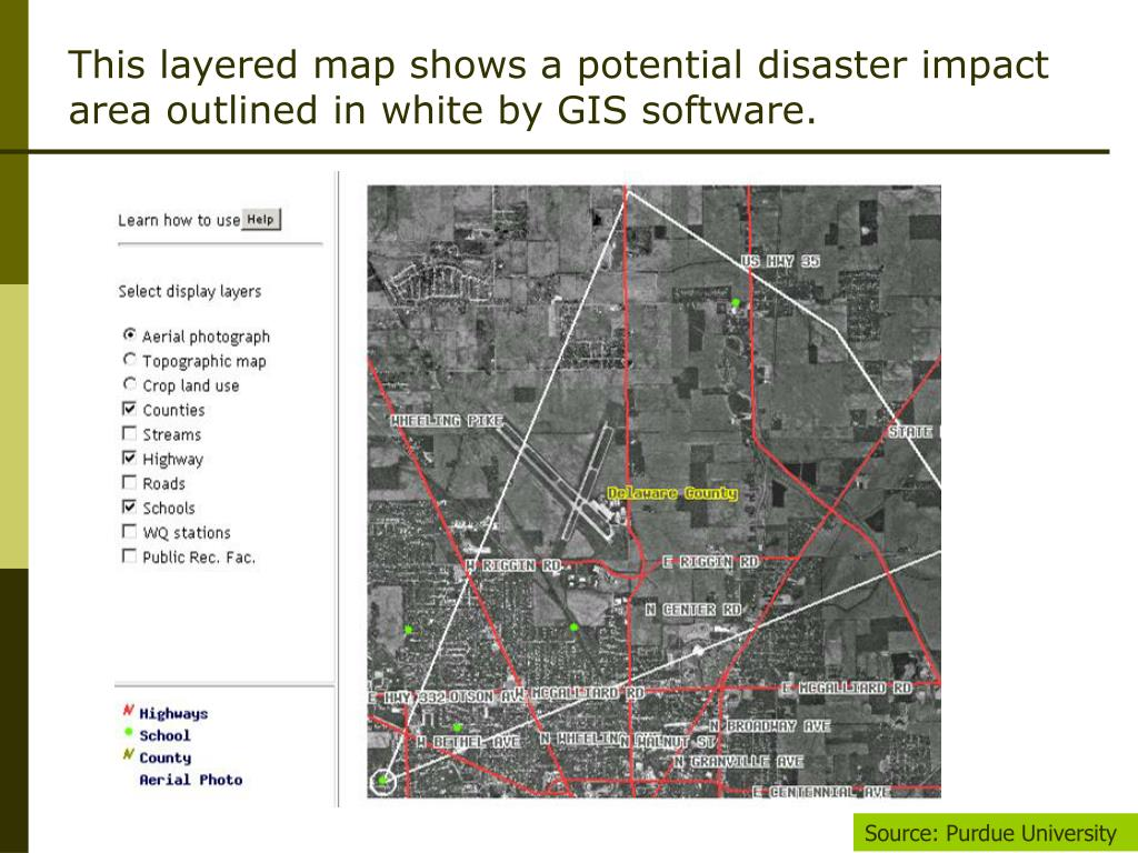 This layered map shows a potential disaster impact area outlined in white by GIS software.