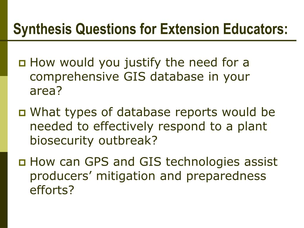 Synthesis Questions for Extension Educators: