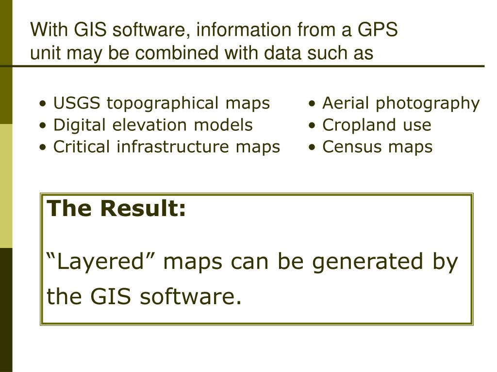 With GIS software, information from a GPS