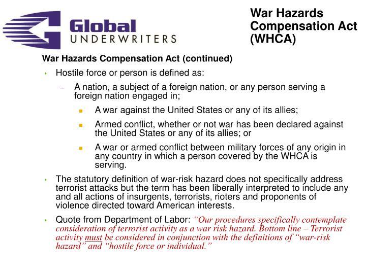War Hazards Compensation Act (WHCA)