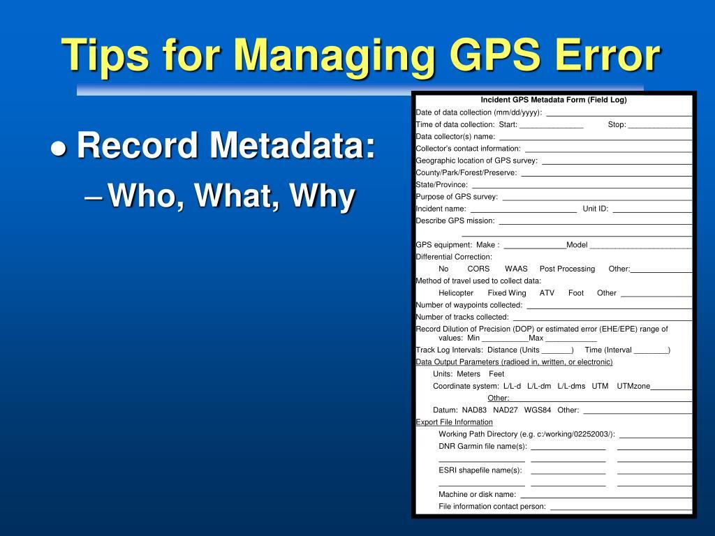 Tips for Managing GPS Error