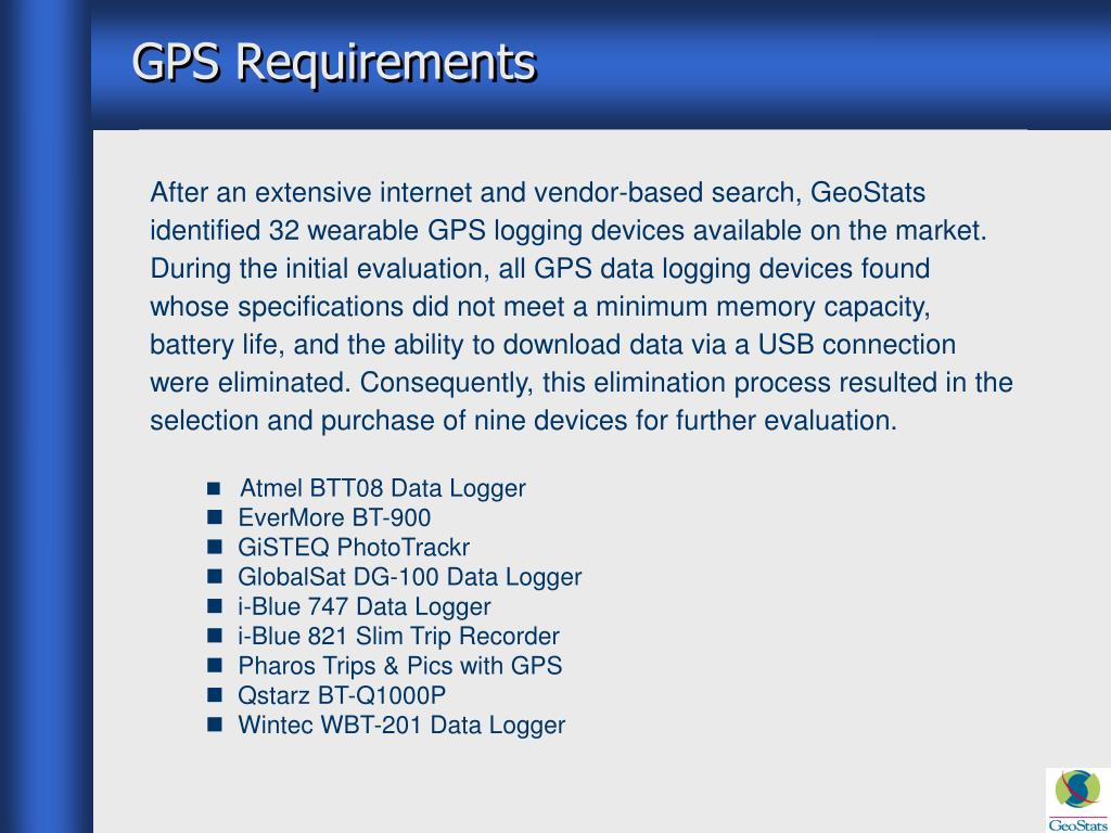 GPS Requirements