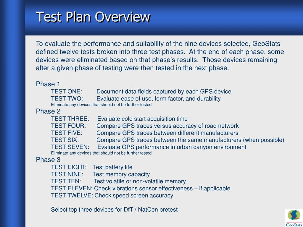 Test Plan Overview