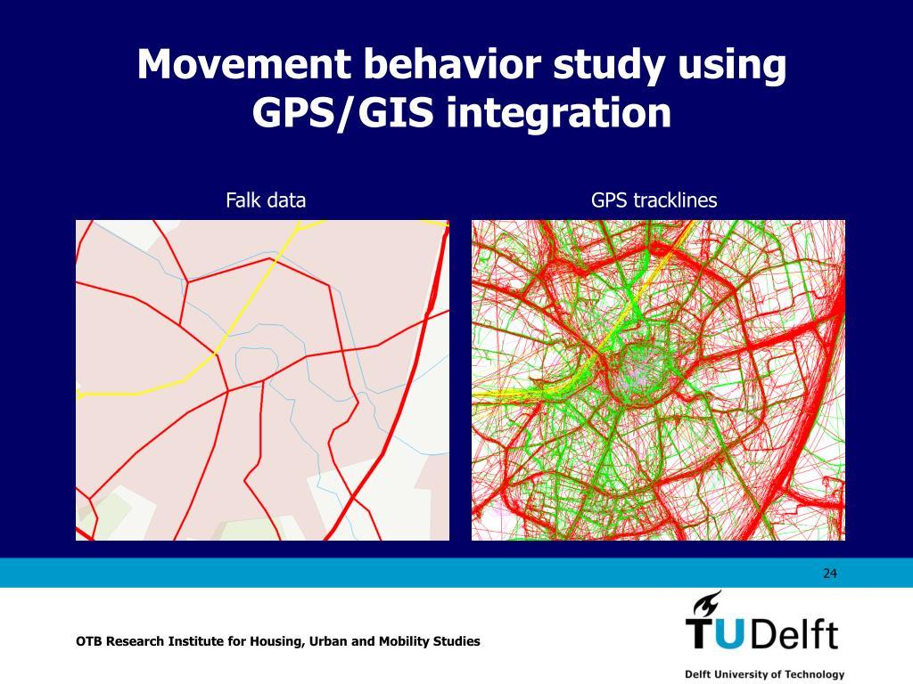 Movement behavior study using GPS/GIS integration