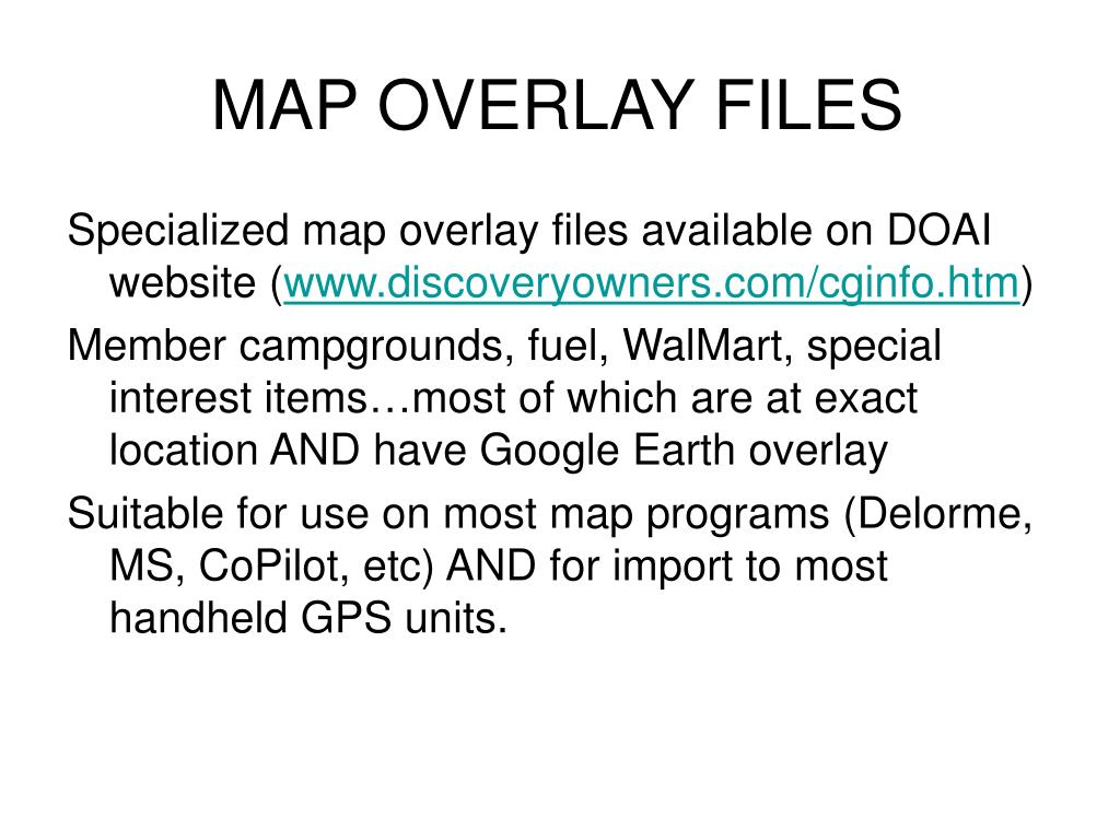 MAP OVERLAY FILES