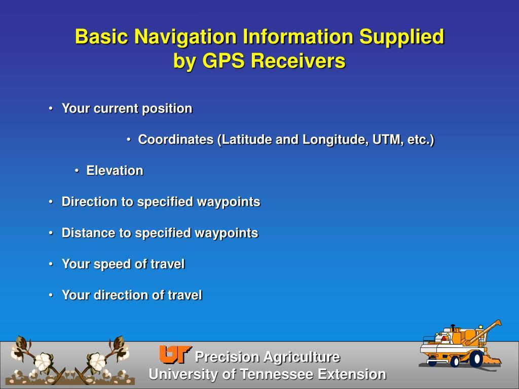 Basic Navigation Information Supplied