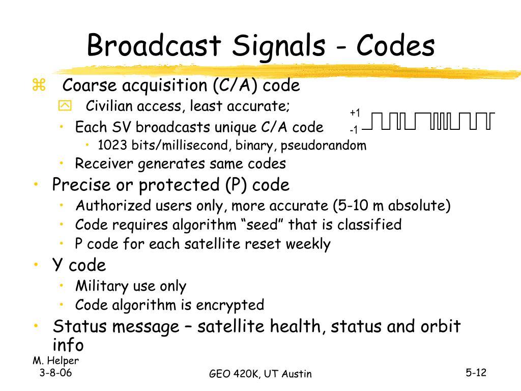 Broadcast Signals - Codes